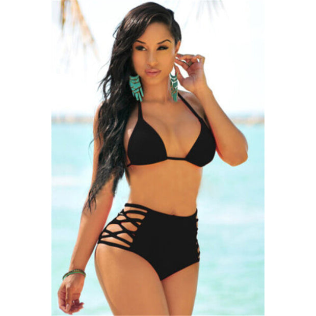 2017 Womens Sexy Bikini Set High Waist Swim Swimwear Push Up Padded Swimsuit Bathing Suit Beachwear Surfing Swimsuit Biquini