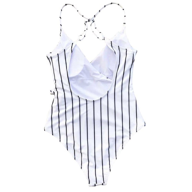 2018 Europe New Style Chest Cross Swimming Wear Lacing Bow Tie One Pieces Swimsuit Stripes Bikini For Dropshopping