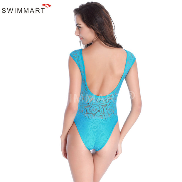 2018 Hot Sexy Lace Semi-transparent 1 Piece Swimsuit Multi-color Europe US Vintage Summer Beach Wear Halter Swimwear
