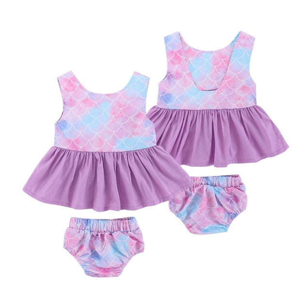 2018 Hot Summer Baby Girls Printed Dress Clothes Set Round Neck Sleeveless Tops Dress + Briefs Baby Clothing Beach Bathing Set