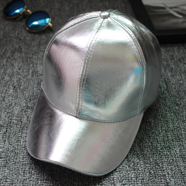 2018 New Brand Silver Golden PU Leather Baseball Caps Fashion Men Women Hip Hop Hat Cap Spring Summer Casual Snapback Hats Punk