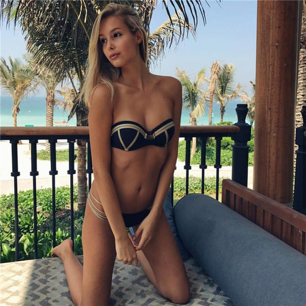 2018 New Gold Stamping Bikini Set Sexy Padded Women Push Up Bandeau Swimwear Bandage Summer Beachwear Brazilian Bathing Suit
