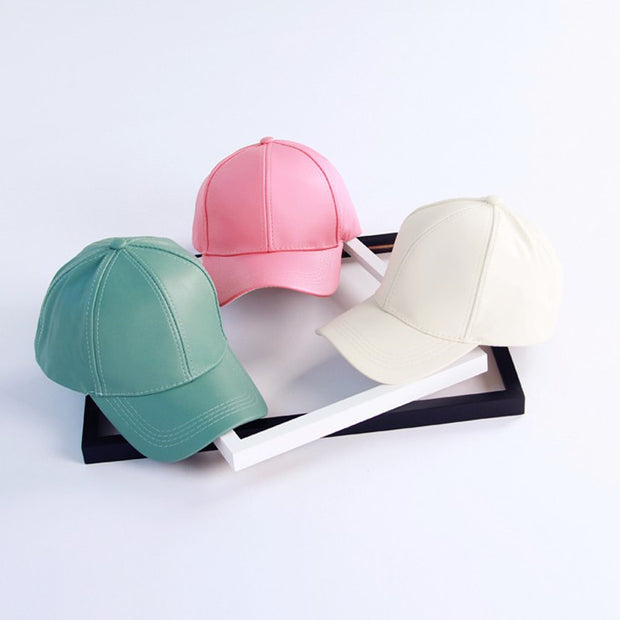 2018 New Solid Color Pu Leather Baseball Cap Fall Winter Women Men Adjustable Snapback Caps Hip Hop Hats Macaron Green Orange