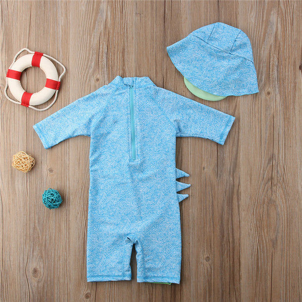 2018 New Summer Kid Baby 3D Dinosaur Rompers Baby Boy Girls Blue Surfing Swimsuit Jumpsuit Beachwear Clothes Hats Outfits