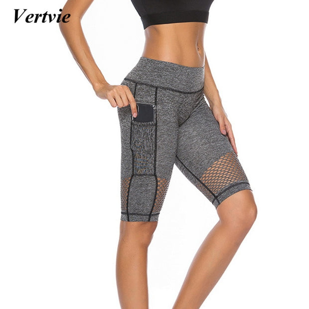 2018 Sexy Mesh Yoga Shorts With Phone Pocket Women Push Up Sport Leggings High Waist Running Tight Sport Workout Gym Clothing