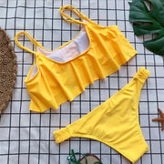 2018 Sexy Women Yellow Bikini Set Summer Ruffles Swimwear Hot Sale Triangle Bandage Swimsuit Brazilian Low Waist Bathing Suit