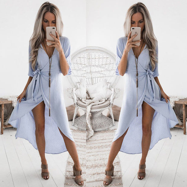 2018 Summer Blue White Dress Women's Maxi Long Dress Holiday Summer Evening Party Beach Slit Spilt Sundress