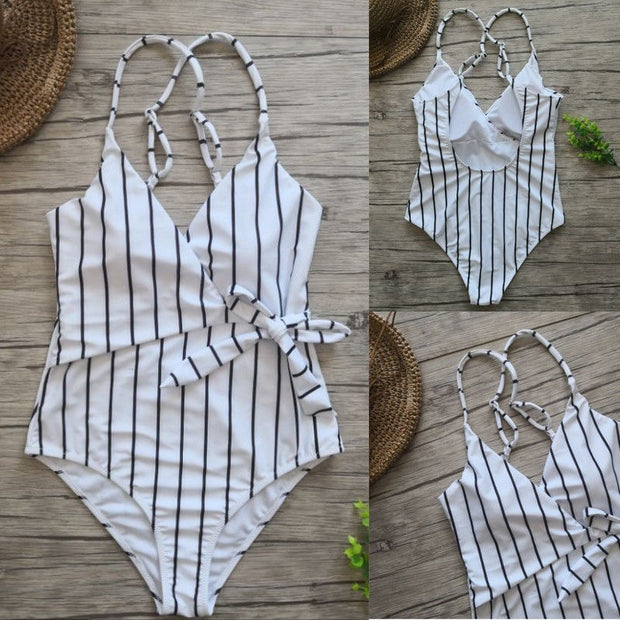 2018 Women One Piece Bikini Monokini Swimsuit Padded Backless Swimwear BeachWear