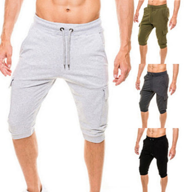 2019 Men's Running Sport Drawstring Sweat Shorts With Pocket Slim Fitness Jogging Trunks Gray Sport Shorts For Basketball Soccer