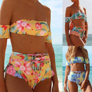 2019 NEW Sexy Women High Waist Bandage Bandeau Bikini Set Print Swimwear Push-Up Padded Swimsuit Biquini Bathing Beachwear S-XL