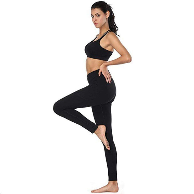 2019 New Arrival Comfortable Women's High Waist Yoga Pants Pockets Tummy Workout Running Sports Leggings 10#