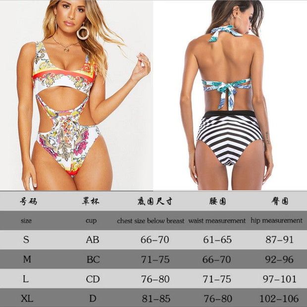 2019 New One Piece Swimsuit Sexy Floral Printed Hollow Swimwear Women Bathing Suit Beach Backless Monokini Swimsuit Female