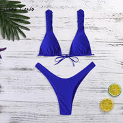 2019 Sexy Women High Waist Bandage Bikini Set Push-Up Brazilian Swimwear Swimsuit Bathing Beachwear Biquini Solid Blue S-L