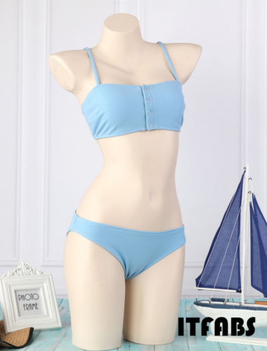 2019 Summer New Stylish Padded Bra Ladies Bikini Set Blue Swimsuit Women Bandage Push-up Swimwear Bathing