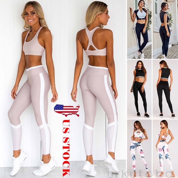 2019 Summer Women's Fitness Suits Crop Tank Workout Floral Printed Top And Legging Pants 2 Pieces Set Ladies Sexy Tracksuit