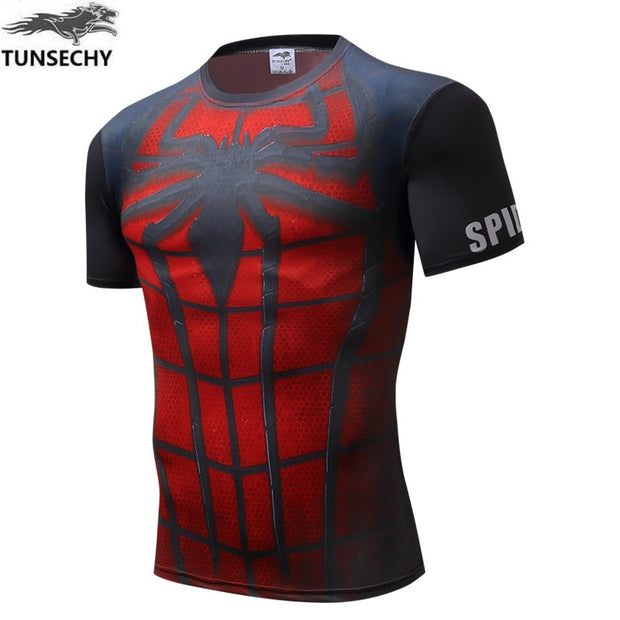 2019 Tight Clothes Men's T-shirt Fitness Cultivate Short Bike Jerseys T-shirt Superman Super Hero T Shirt Men Compression Tights