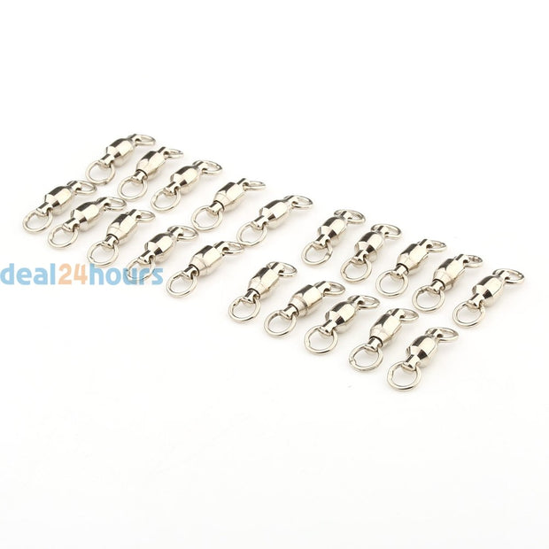 20pcs/lot 23mm/28mm Fishing Swivel Ball Bearing Fishing Swivels Solid Rings Silver Size #4 / #5 50kg/ 110LB Fishing Tackle