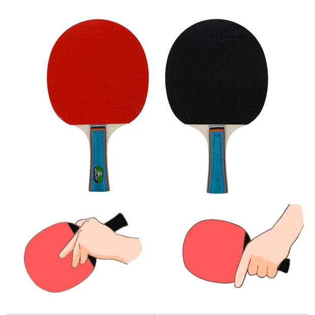 2racket+3balls Professional Carbon Fiber Table Tennis Rackets With Double Face Pimples-in Table Tennis Rubber Ping Pong Racket