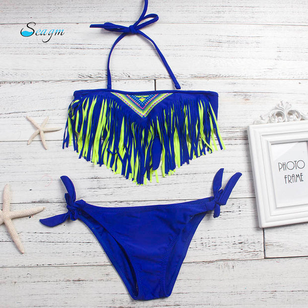 3-12 Years Tassel Girls Bikinis 2018 Mujer Children Bikini 2018 Solid Kids Swimwear Swimsuit 5 Colors Bathing Suit Biquini 102