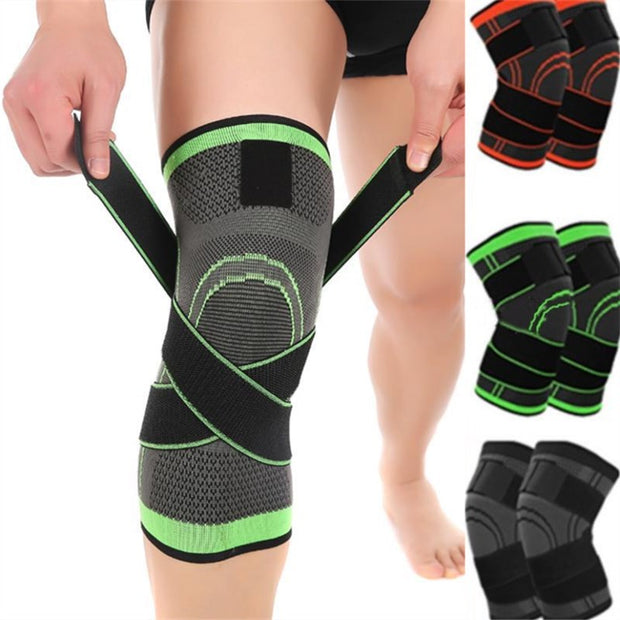 3D Pressurizati Knee Compression Pad Breathable Sports Weaving Knee Protector High Elastic Adjustable Knee Support Sport Bandage