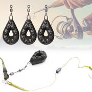 3pcs/set Waterdrop Shaped Lead Weights With Rolling Swivels Fishing Tackle