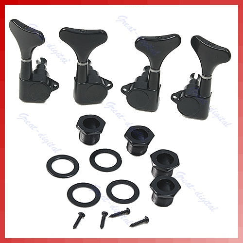 4 String BassBlack Guitar Sealed Tuners Tuning Pegs Machine Heads 2R2L
