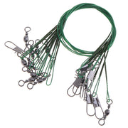 40pcs Stainless Steel Anti-bite Fishing Lead Line Swivel Rope Wire With B-type Pin And 8-letter Ring