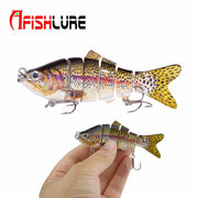 5 Color 98mm 19g Fishing Lure 3D Eyes 6-Segment Lifelike Hard Crankbait Fishing Jointed Sections Swimbait For Fishing Tool