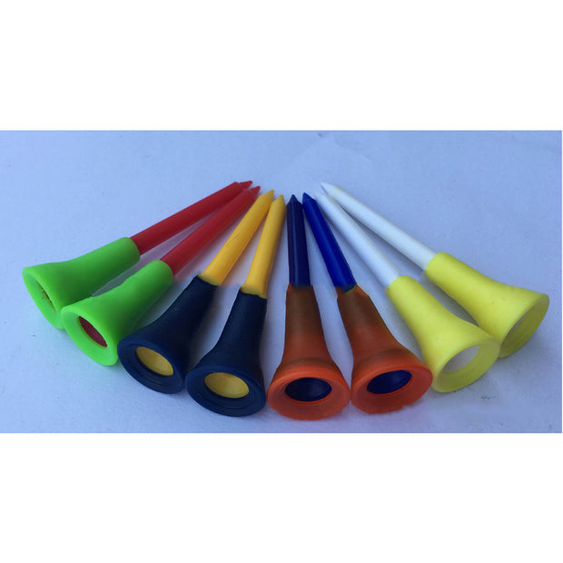 50 Pcs PGM High Quality Multicolor Plastic Golf Tees Golf Tools Rubber Cushion Top Equipment Durable 83mm / 3.3in Professional