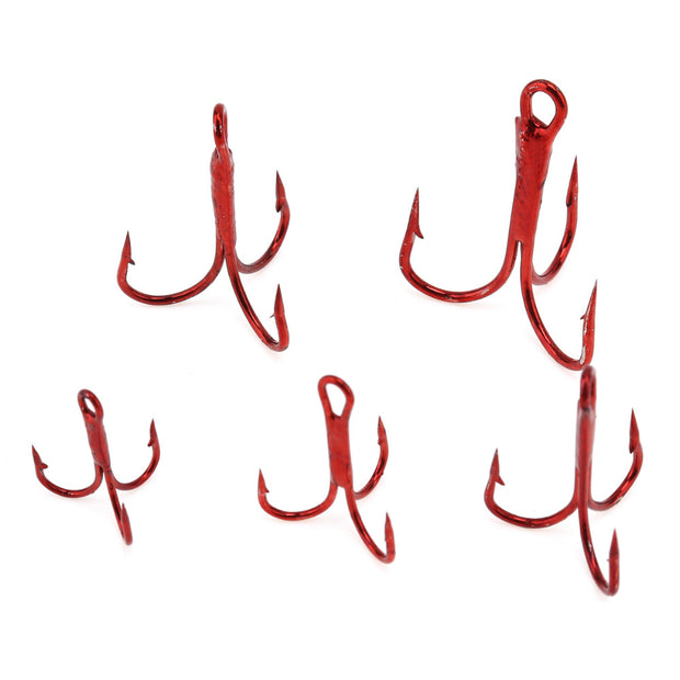 50pcs 2 /4 /6 /8 /10 # High Carbon Steel Fishing Hooks Treble Hooks Fishing Tackle