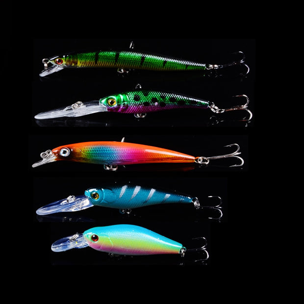 5pcs Mixed ColorFishing Lure Minnow Wobblers Hard Bait With Sharp Hooks Fishing Tackle Isca Artificial Bait Crankbait Swimbait