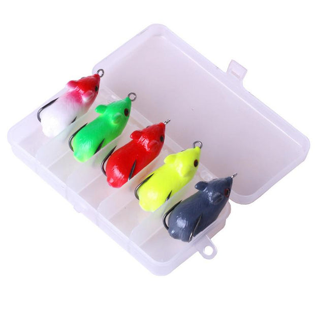 5pcs Mouse Shaped Fake Bait Set Artificial Fishing Lure Bait Barbed Double Hook Bionic Fishing Lure Bait
