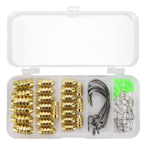 69pcs Fishing Tool Accessories Kit Hooks Rings Reinforced Pin Sinker Swivel Snaps Beads Fishing Tackle Kit With Box