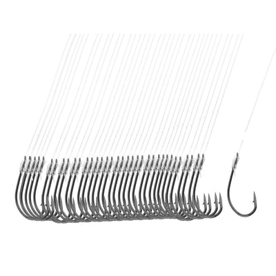 "8 Pack 40 Pcs 20"" Long Fishing Line 8# Darl Gray Metal Fish Hooks"