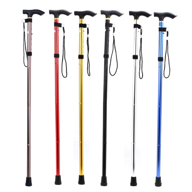 80-91cm 4Section Foldable Adjustable Lightweight Telescopic Trekking Pole Non-slip Cane Handle Hiking Walking Stick Random Color