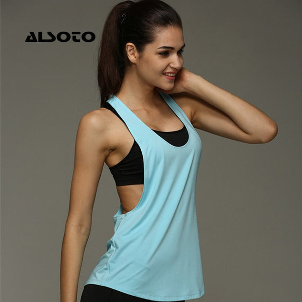 ALSOTO Women Sports Running Shirt Sleeveless Breathable Sport Gym Jersey Cool Loose Yoga Tops Fitness T-Shirts Women Sport Top