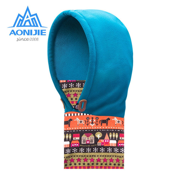 AONIJIE Children Kids Winter Thermal Fleece Hood Outdoor Sports Hat Windproof Cap Scarf Thermal Face Mask Hiking Cycling Running