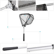 Aluminum Alloy Fishing Nets Retractable Fishing Net Telescoping Foldable Landing Net Pole Fly Fishing Folding Landing Net