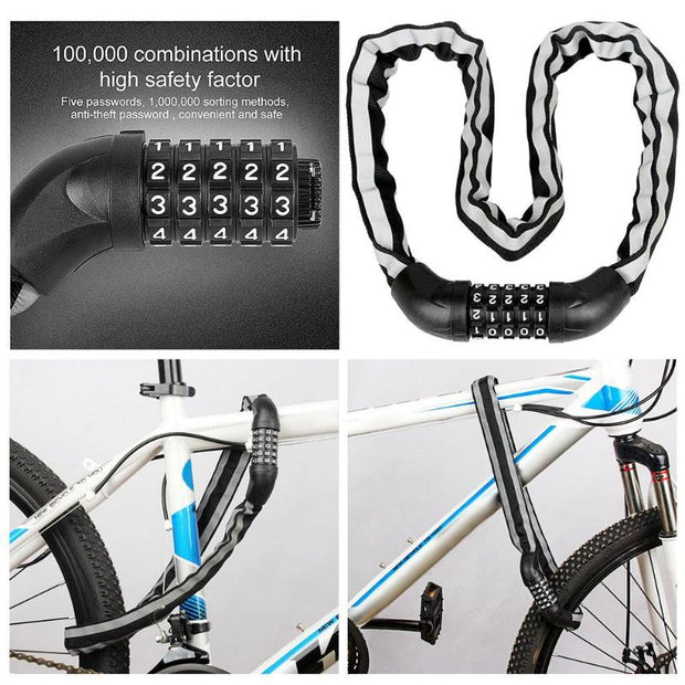 Anti-Theft 5 Digit Password Bicycle Lock Security Combination Password Chain Lock For Bicycle Bike Sliding Glass Door Bicycle