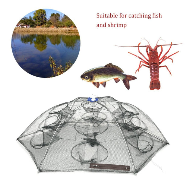 Automatic Telescopic Foldable Crab Net With 4-6 Sides 4-12 Holes Shrimp Green Folding Catching Net Hexagon Shape Drop Shipping