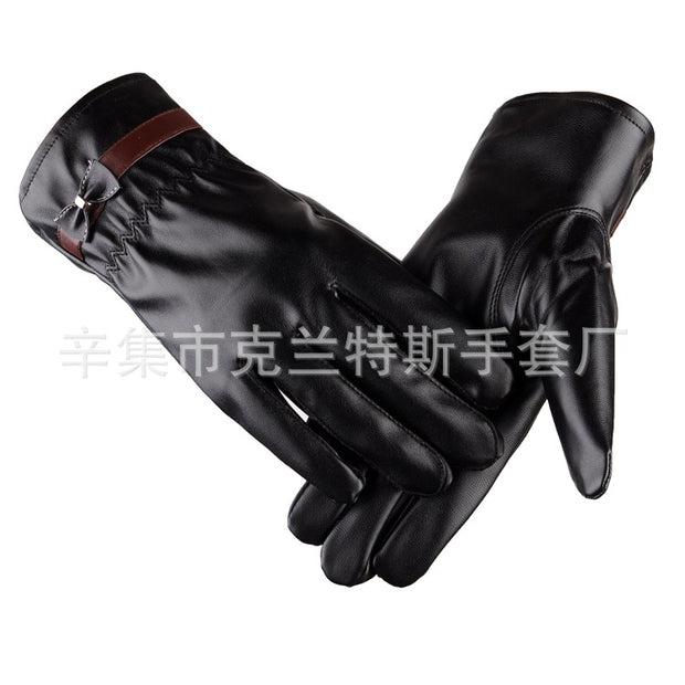 Autumn Winter Cycling Gloves Mittens Full Finger Waterproof Windproof Touch Screen Gloves For Women Warm PU Leather Gloves