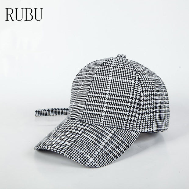 Autumn And Winter Retro Plaid Baseball Cap Men And Women Couple Long With Curved Bow Cap Wild Lattice Hip-hop Hat Dance Hat
