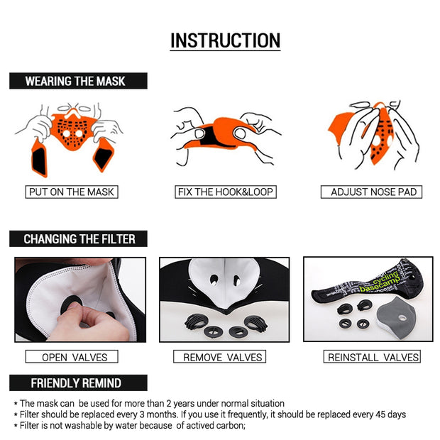 BASECAMP Cycling Mask Activated Carbon Anti-Pollution Masks Dustproof Mountain Bicycle Sport Road Cycling Masks Face Cover