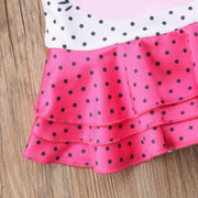 Baby Kids Girl Swimwear Swimming Cute Print Pleated Polka Dot Swimsuit Costumes Bathing Suit One-Piece Suits Swimsuit Beachwear
