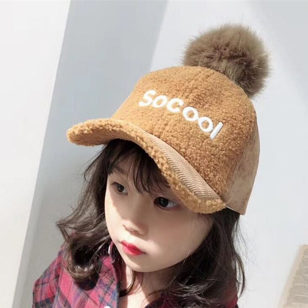 Baby Kids So Cool Letter Embroidery Curved Baseball Caps Winter Thick Lamb Wool Warm Snapback Hats Gorros Pompoms