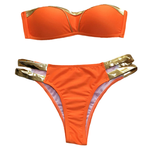 Beach Sexy Women Bikinis No Shoulder Girdle Solid Color Gilding Bra Bandage T-shape Briefs Swimsuit Set Two-pieces Bikini Set