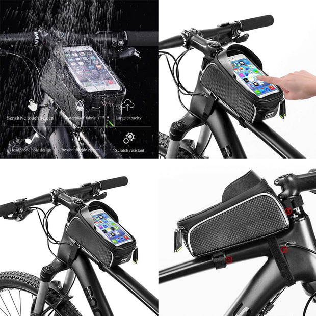 Bicycle Bag Riding Waterproof Mobile Phone Bag Black Mountain Solid Bike Front Beam Bag