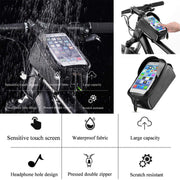Bicycle Bag Riding Waterproof Mobile Phone Bag Solid Black Mountain Bike Front Beam Bag