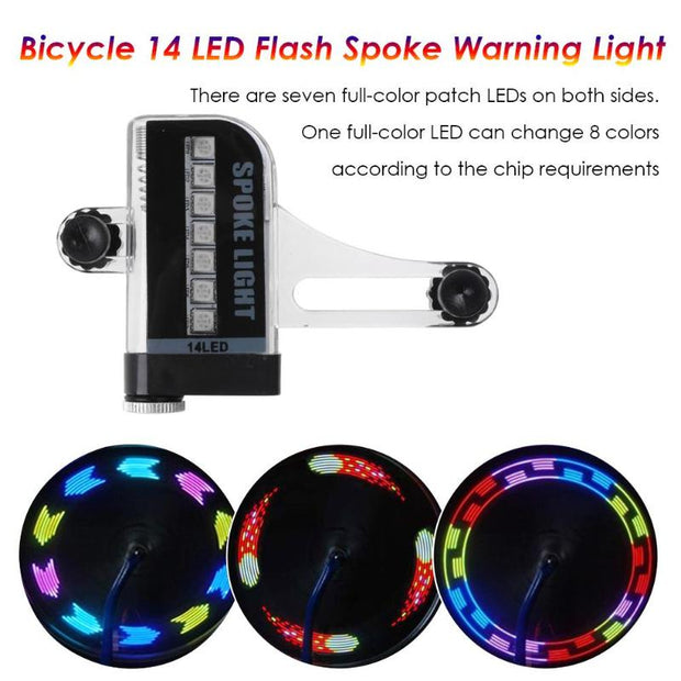 Bicycle Cycling Bike Tyre Tire Wheel Valve 14 LED Flash Spoke Warning Light