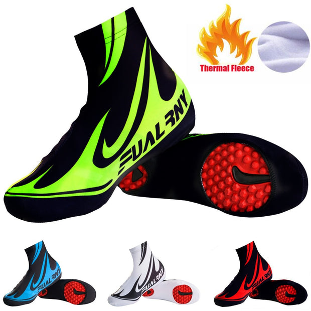 Bicycle Pro Cycling Shoe Cover Windproof Road Bike Bicycle Shoes Cover Winter Thermal Fleece Warm Cycling Overshoes